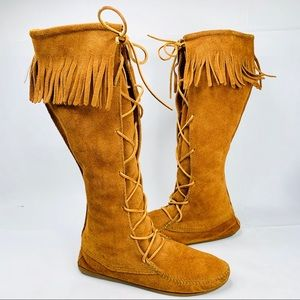 MINNETONKA Lace Front Knee High Moccasin Boots 10